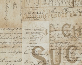 French Script - Tim Holtz - Eclectic Elements - Neutral Fabric - Newspaper Print Fabric - Novelty Fabric - Tim Holtz Style