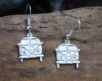 Camper Van Pewter Earrings