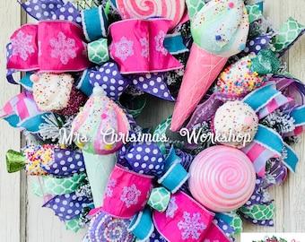 Christmas wreath, candy wreath, pink Christmas  wreath, deco mesh wreath, lollipop wreath, ice cream wreath