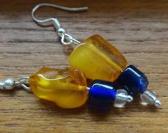 Amber and Cobalt Earrings