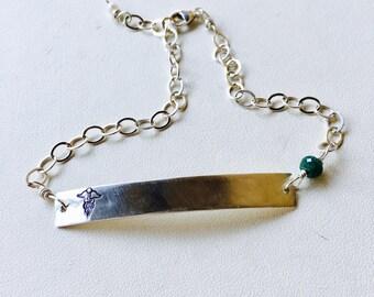Medical Alert Bracelet, Medical ID Bracelet, Gold Medical Alert Bracelet, Silver Medical Alert Bracelet, Gold Bar Bracelet, Silver Bar