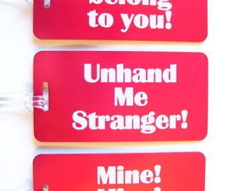3 Funny Aluminum Laser Engraved Luggage Tags 10 colors - 50 Fonts Engraved On Back with Your Info. Personalized Custom Engraved