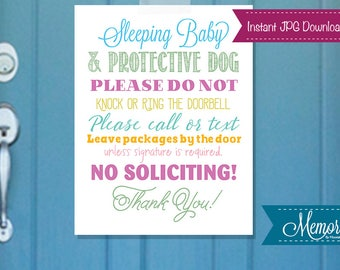 Sleeping Baby Sign, Do No Disturb Signage, Shh Sign, Sleeping Baby Door Sign, PRINTABLE, INSTANT DOWNLOAD