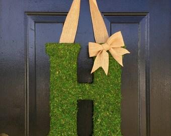 """18"""" moss monogram, moss initial, moss letter, moss decor, large moss letter, spring decor, door letter, door monogram, housewarming gift"""