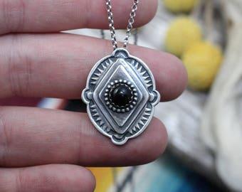 Black Onyx Art Deco Pendant Necklace | Sterling Silver | Onyx Jewelry | Bohemian Southwestern