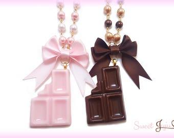 Bitten Chocolate Bar Necklace - 2 colors - Cute Kawaii Sweet Lolita Fashion Jewelry - Gold tone Pearl Beaded Chain