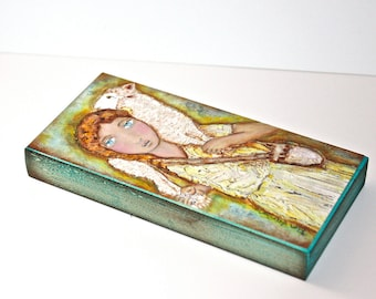 Young Good Shepherd -  Giclee print mounted on Wood (5 x 10 inches) Folk Art  by FLOR LARIOS