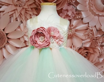 Mint and Blush Girl Tutu-Mint and Blush Dress-Mint and Blush Wedding Tutu- Mint and Blush Tutu Dress-Mint and Blush Flower Girl Tutu Dress