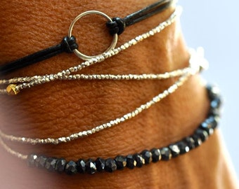 Triple wrap delicate bead bracelet wrap