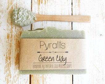 Green Clay Soap, Organic Soap, Cold Process Soap, Oily Skin Soap, Detox Soap, Natural Soap, Mint Soap, Peppermint Soap, Soap for Him