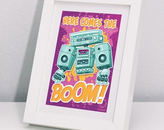 Here Comes the Boom! postcard- boom box- hip hop- graffiti- music- post card- greeting card- robots- rap music- music lover- beat box