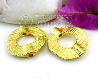 4 pc Textured Circle Spacer Beads, 22K Gold Plated Bead Spacer, Turkish Jewelry Supplies