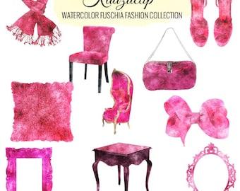 Watercolor Fuschia  Fashion Collection