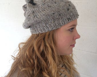 Gray Tweed Infinity Scarf (Cowl), Drawstring Hat Combination, Messy Bun or Ponytail Hat, Beanie, Really Unique, Soft Knit