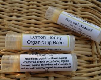 Lemon Honey Lip Balm, Organic Lip Balm, Essential Oil Lip Balm, Moisturizing Lip Balm, Natural Lip Balm