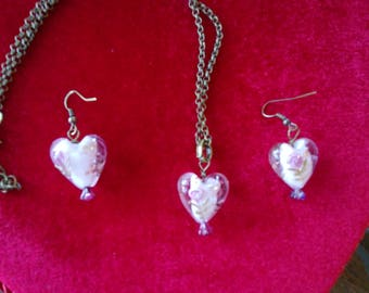 Heart Necklaces: Vintage Brass, Glass, Stone