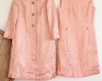 Vintage Rare pink gold metallic Brocade Dynasty 50s 60s dress jacket coat combo S