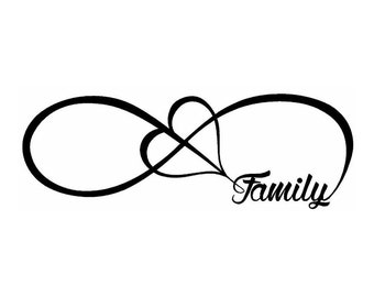Family Infinity 1in x 5in  sticker decal decal for windows, cars, trucks, tool boxes, laptops, MacBook