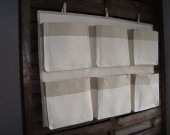 Canvas crib storage, caddy organizer, linen nursery organizer, girl  boy storage bag, nursery accessory, hanging  storage, wall containers
