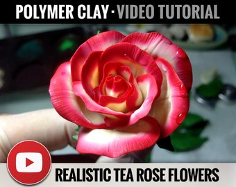 Polymer Clay Tutorial Vol.8: DIY How to make «Realistic Tea Rose Flowers», Detailed Video Polymer Clay Flower Tutorial, Instant Access