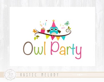 Owl Logo Design Party Logo  Children Logo Kids Logo Photography Logo Design Watermark Logo Boutique Logo