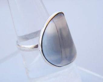 Blue Opal Ring, Handmade Ring, Blue Peruvian Opal Ring, Natural Gemstone Ring