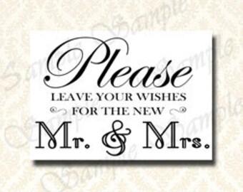 Guest Book Zeichen, Bitte hinterlassen Sie Ihre Wünsche für Herr und Frau - Hochzeit gut wünscht, Schilder, Dekoration, 5 x 7 und 8 x 10 schwarz / weiß DIY druckbare 100