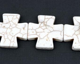 35mm WHITE MALTESE Cross Beads, Magnesite Howlite, full strand, 11 beads  how0406