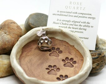 Pet Memorial Gift Personalized/Dog Loss Note/Rose Quartz Stone for Grief/Handmade Pottery Keepsake/Rainbow Bridge/Dog Cat Pet Sympathy Gift