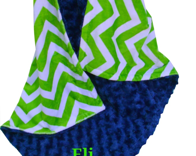 Navy Blue Rose Swirl and Lime Green Chevron Minky Baby Blanket, available in multiple sizes,