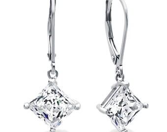 Women Rhodium Plated Sterling Silver 3.5ct Asscher CZ Leverback Dangle Earrings(LUXE172703)