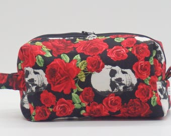 Roses & Skulls Pouch, Steampunk Bag, Zip Pouch, Ditty Bag, Toiletry Kit, Cosmetics Case, Makeup Bag, Travel Case, Gifts for Her, Goth Gifts