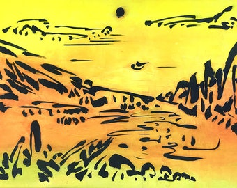 Nature, Abstract Landscape, Original Chinese Ink Painting, Japanese Art, Wall Art, Minimalism, Modern Art, Brush, Japanese, Zen Art, yellow