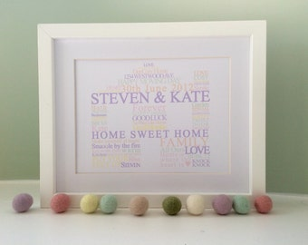 HOME / HOUSE Personalised Word Art Print - Housewarming gift (inc p&p)