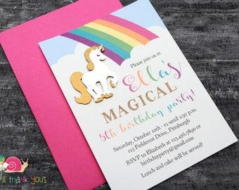Magical Unicorn Invitations · A6 FLAT · Rainbow and Gold Shimmer · Enchanted   Unicorn   Rainbow   Birthday Party Invite
