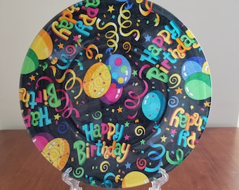 "Happy Birthday Balloons 10"" Round Plate"