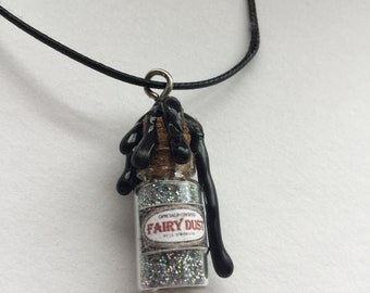 Silver Fairy Dust in a Bottle Necklace