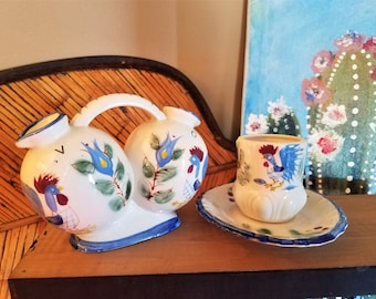 Matching Vintage Nasco Hand Painted Blue Rooster Oil & Vinegar Cruet and Egg Cup
