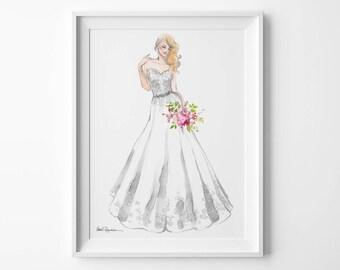 Bridal Illustration, Custom Bridal Illustration, Custom Wedding Illustration, Custom Bridal Portrait Illustration