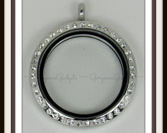 30mm Floating Locket / Glass Locket / Memory Locket Pendant Stainless Steel With Crystals