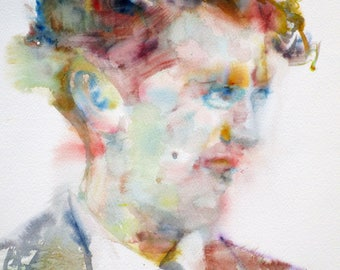 DYLAN THOMAS - original watercolor portrait - one of a kind!