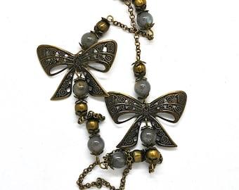 Handmade jewelry, gemstones, Labradorite, vintage circus theme
