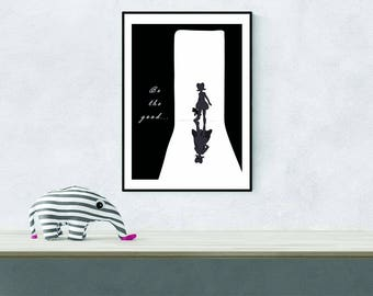 Instant digital download kids inspirational black and white girls shadow with special superhero reflection prints/poster