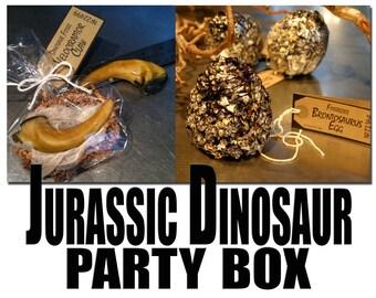 Jurassic Dinosaur Party Box contains 8 Full-Size Velociraptor Claw Cookies & 8 Fossilized Brontosaurus Treats, Quantity: 1 box of 16 Treats