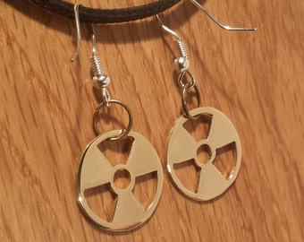 Radioactive Warning Fish Hook Dangle Earrings in Brass or Copper - Show your geek credentials with these unique charms