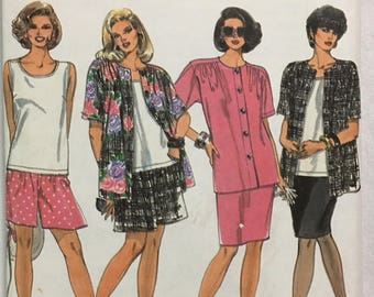 Simplicity Pattern 8447 Women's Skirt, Shorts, Tank Top and Shirt-Jacket ~UNCUT~ Size 18W to 24W