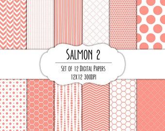 Salmon Pink 2 Digital Scrapbook Paper 12x12 Pack - Set of 12 - Polka Dots, Chevron, Hexagon - Instant Download - Item# 8157