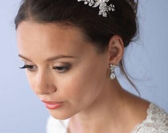 Floral Bridal Headband, Rhinestone Side Headpiece, Bridal Hair Accessory, Floral Wedding Headband, Rhinestone Bridal Headband ~TI-3206