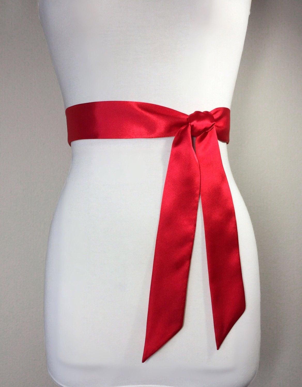 Narrow Red Sash, Red Satin Sash Bridesmaid Sash, Red Wedding Dress ...