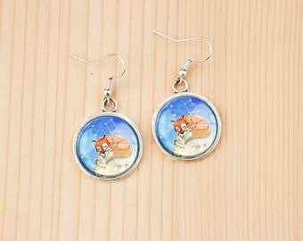 Fox on Moon round earrings glass picture art present gift idea christmas birthday